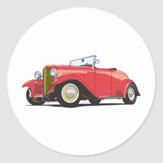 Red Hot Rod Round Sticker