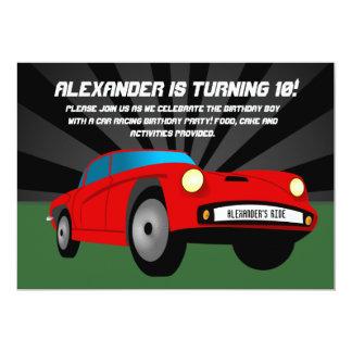 Red Hot Rod Sportscar Custom Birthday Invitations
