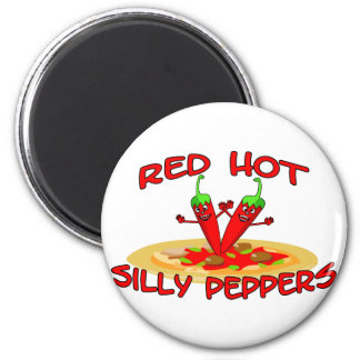 Red Hot Silly Peppers 6 Cm Round Magnet