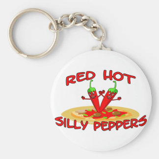 Red Hot Silly Peppers Basic Round Button Key Ring
