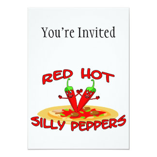 Red Hot Silly Peppers 5x7 Paper Invitation Card