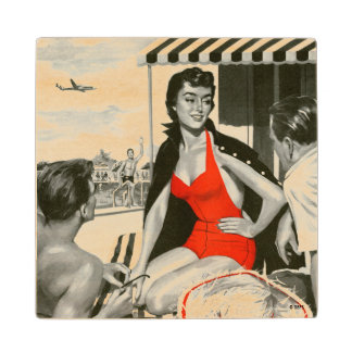 Red Hot Woman Wood Coaster