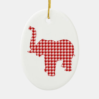 Red Houndstooth Elephant Christmas Ornament