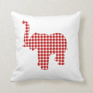 Red Houndstooth Elephant Cushion