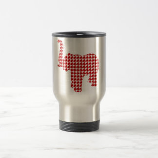 Red Houndstooth Elephant Stainless Steel Travel Mug