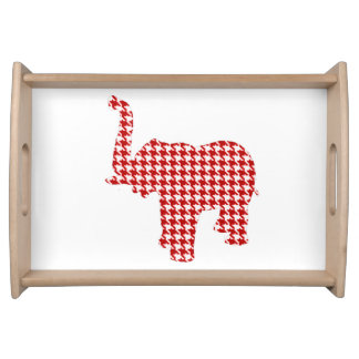 Red Houndstooth Elephant Serving Tray