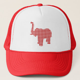 Red Houndstooth Elephant Trucker Hat
