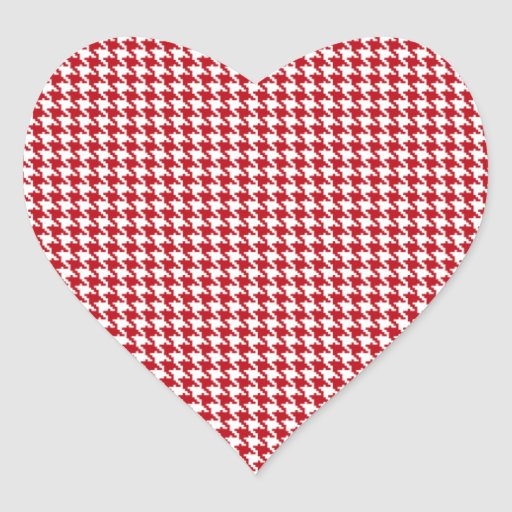 Red Houndstooth Pattern Heart Stickers