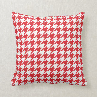 red houndstooth pattern throw pillow