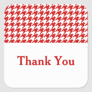 Red Houndstooth Thank You Stickers
