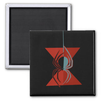 Red Hourglass Spider Square Magnet