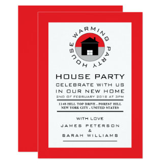 Red House Logo, Housewarming Party, House Party Card