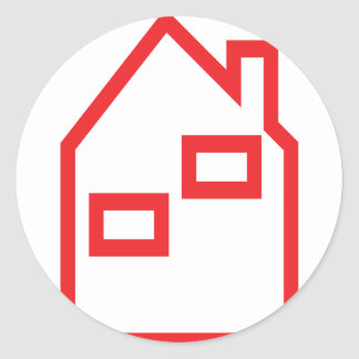 red house real estate icon round sticker