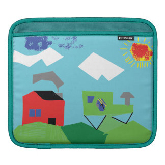Red House & Tractor on Hills Kids Digital Art iPad Sleeves