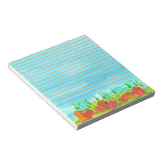 Red Houses Blue Watercolor Lined Notepad