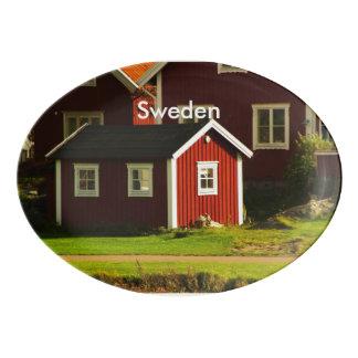 Red Houses in Sweden Porcelain Serving Platter