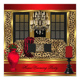 Red Housewarming Party Chandelier Leopard Gold 13 Cm X 13 Cm Square Invitation Card