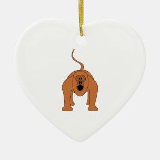 Red Howler Monkey Cartoon Christmas Ornament