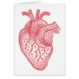 red human heart with geometric mesh pattern greeting card