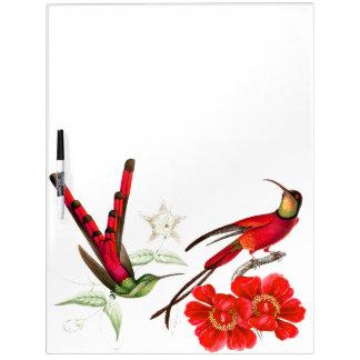 Red Hummingbird Birds Flowers Floral Erase Board