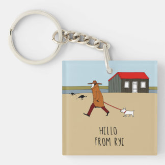 Red Hut in Rye Harbour Double-Sided Square Acrylic Key Ring