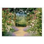 Red Hybrid Rose-Lined Path To Gate, Underplanted W Greeting Card