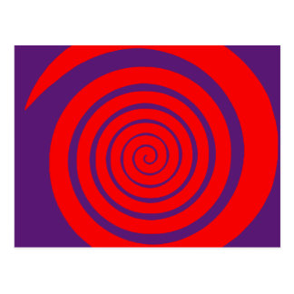red hypnotic spiral image postcard