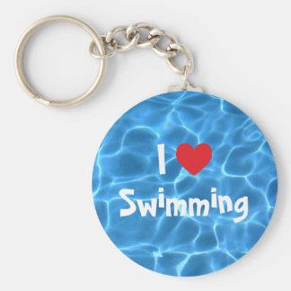 Red I Love Swimming Blue Swimming Pool Basic Round Button Key Ring