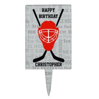 Red Ice Hockey Helmet and Sticks Typography Cake Picks