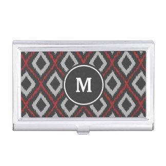 Red Ikat Monogram Business Card Holder