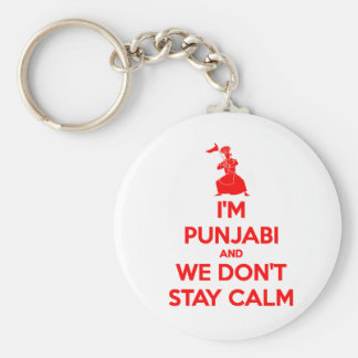 (RED) I'm Punjabi and We Don't Stay Calm Basic Round Button Key Ring