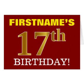 "Red, Imitation Gold ""17th BIRTHDAY"" Birthday Card"