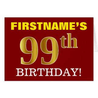 "Red, Imitation Gold ""99th BIRTHDAY"" Birthday Card"