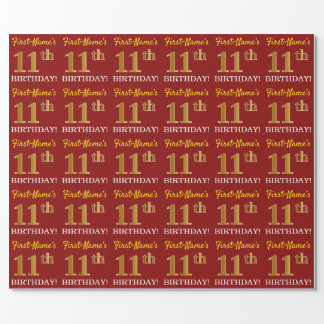 """Red, Imitation Gold Look """"11th BIRTHDAY"""" Wrapping Paper"""