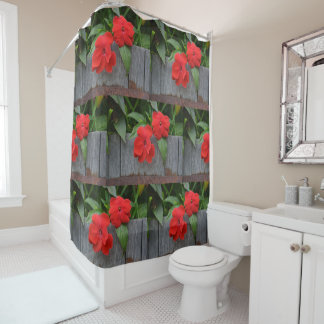 Red Impatiens In Wine Barrel Shower Curtain