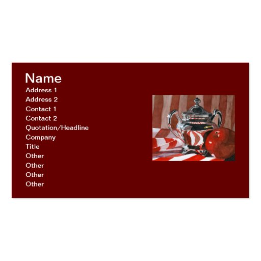 Red in Silver Reflections Business Cards