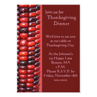 Red Indian Corn Thanksgiving Invite