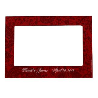 Red indian damask frame magnets