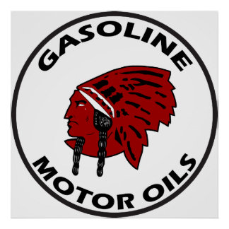 Red Indian Gasoline tin sign flat vers. Poster