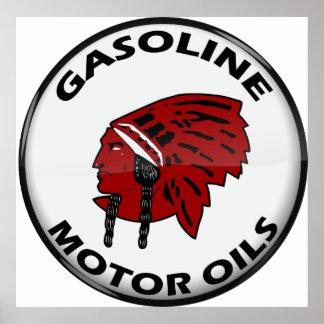 Red Indian Gasoline vintage sign crystal vers. Poster