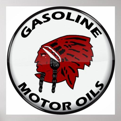 Red Indian Gasoline vintage sign crystal vers. Print