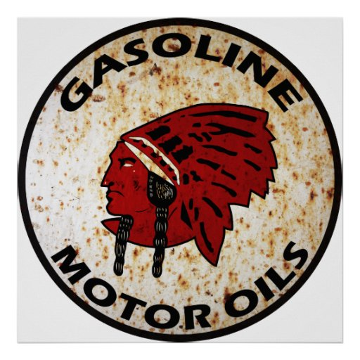 Red Indian Gasoline vintage sign rusted vers. Print