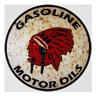 Red Indian Gasoline vintage sign rusted vers Print