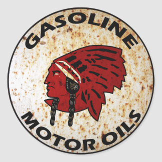 Red Indian Gasoline vintage sign rusted vers. Round Sticker
