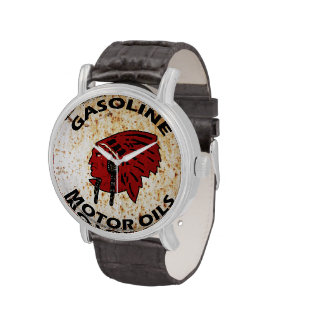 Red Indian Gasoline vintage tin sign reproduction. Wristwatches