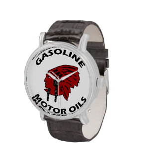 Red Indian Gasoline vintage tin sign reproduction Wrist Watches