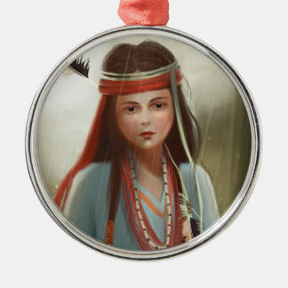 red Indian girl portrait Ornament