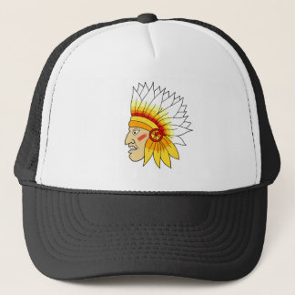 Red Indian Head Trucker Hat