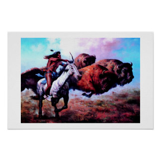RED INDIAN HUNTING BUFFALO POSTER