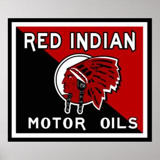 Red Indian Motor Oil vintage sign flat vers.